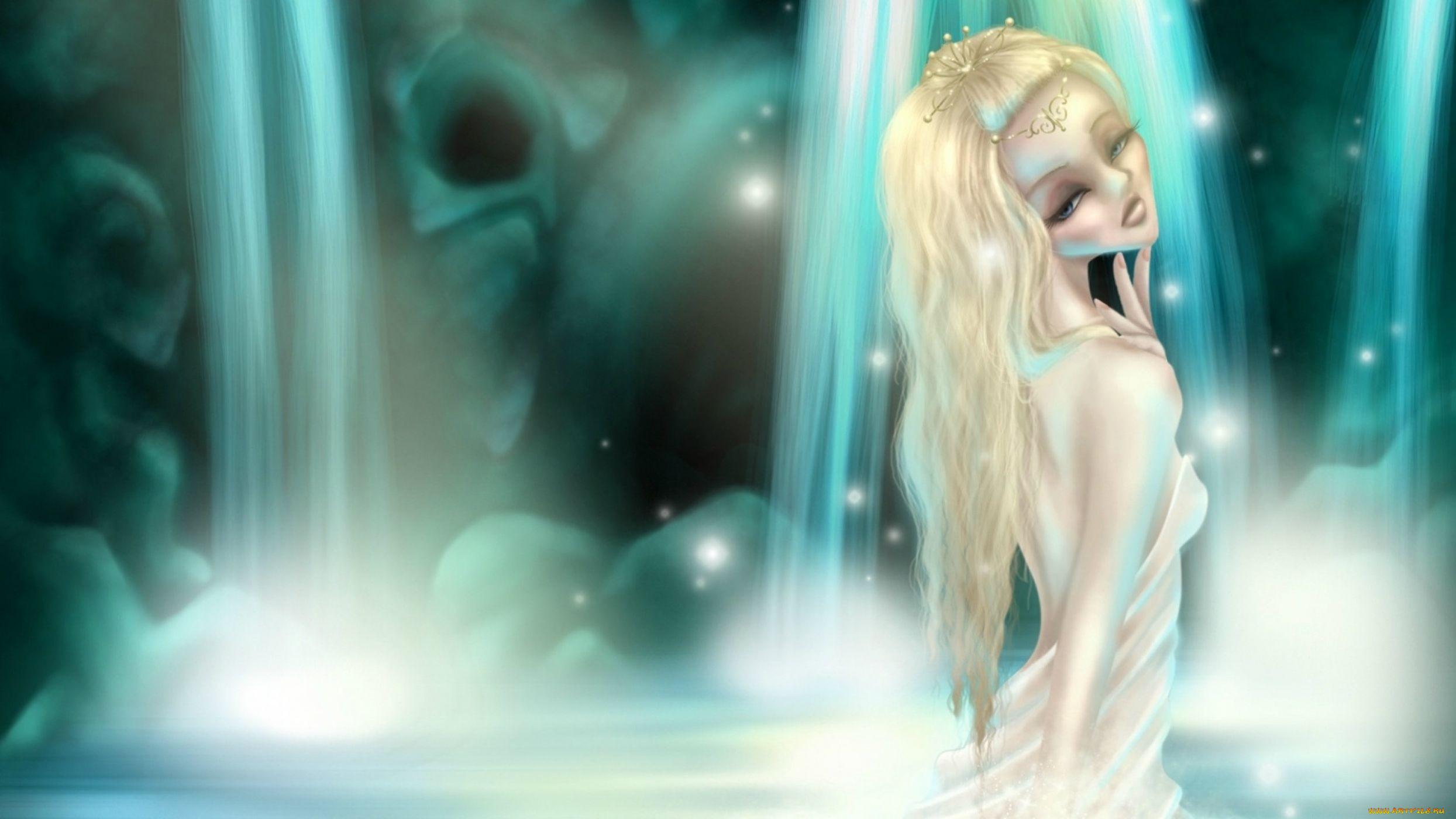 рисованное, люди, девушка, блондинка, водопад